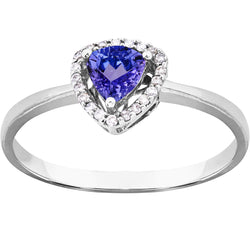 0.35ct Trillion Cut Tanzanite & Diamond Ring in 9ct White Gold