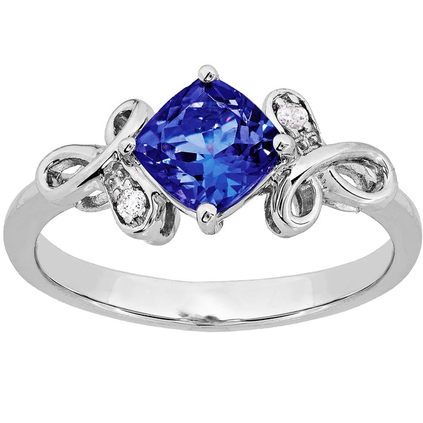 0.79ct Tanzanite & Diamond Cushion Ring in 9ct White Gold