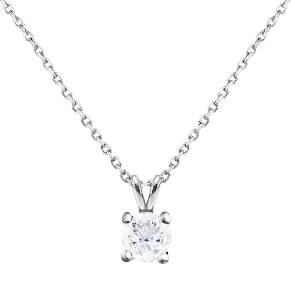 0.30ct Princess Diamond Solitaire Pendant in 18ct White Gold