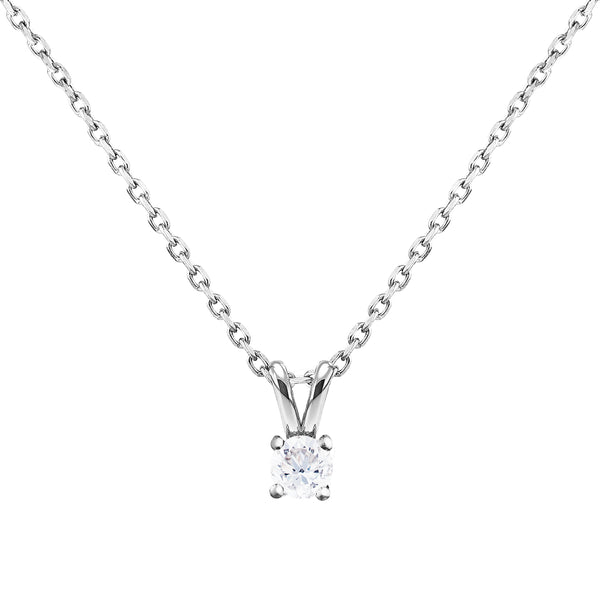0.20ct Diamond Solitaire Pendant in 18ct White Gold
