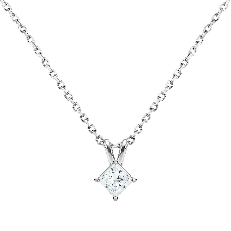 0.20ct Princess Diamond Solitaire Pendant in 18ct White Gold