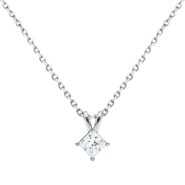 0.50ct Princess Cut Diamond Solitaire Pendant in 18ct White Gold