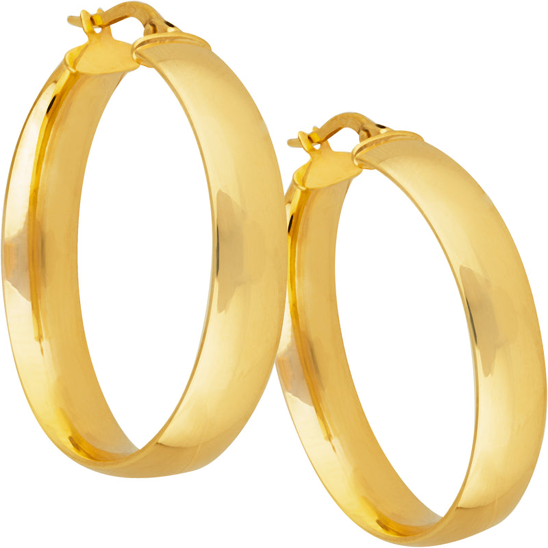 6mm Large Flat Hoops in 9ct Yellow Gold