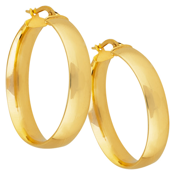 6mm Medium Flat Hoops in 9ct Yellow Gold