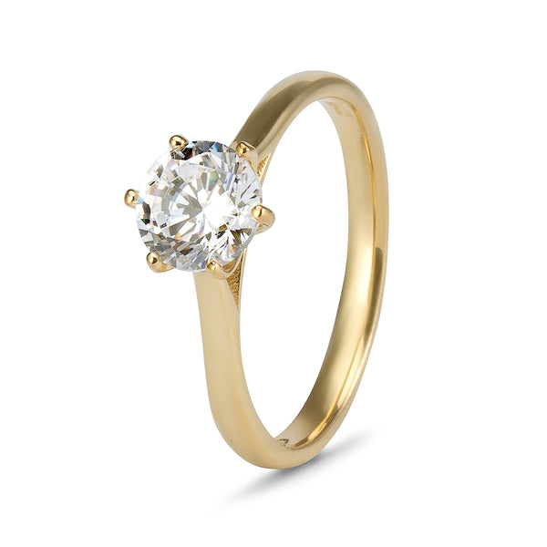 YES! Solitaire 6 Claw CZ Ring in 9ct Yellow Gold