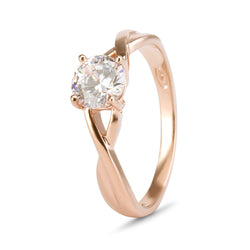 YES! Solitaire Twisted Shank CZ Ring in 9ct Rose Gold