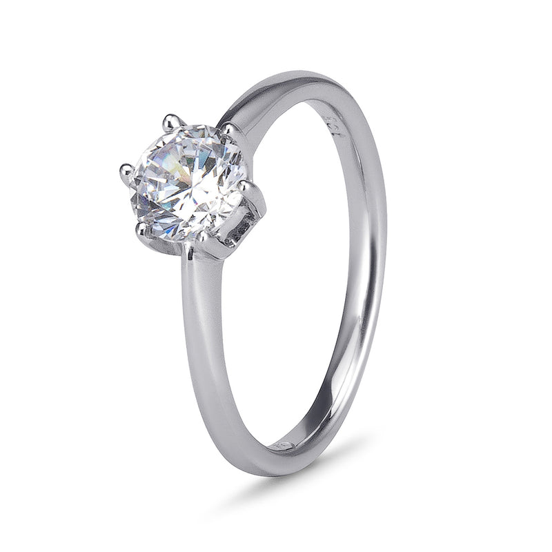 YES! Solitaire 6 Claw CZ Ring in 9ct White Gold