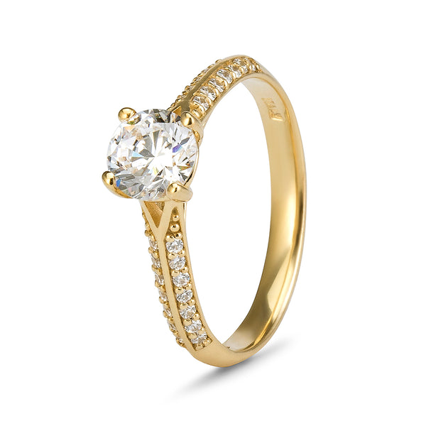 YES! Solitaire & Pavé Shoulder CZ Ring in 9ct Yellow Gold