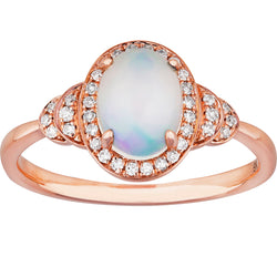0.50ct Opal Halo Layer Ring in 9ct Rose Gold