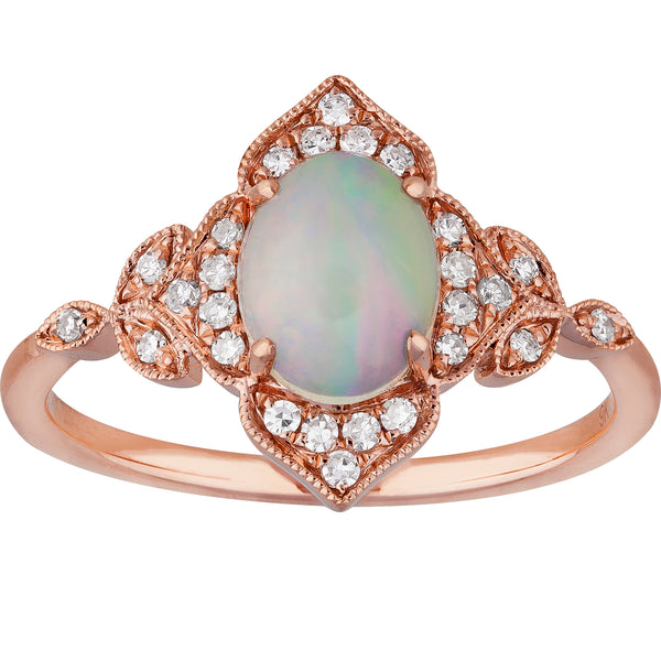 0.75ct Opal Design Ring in 9ct Rose Gold