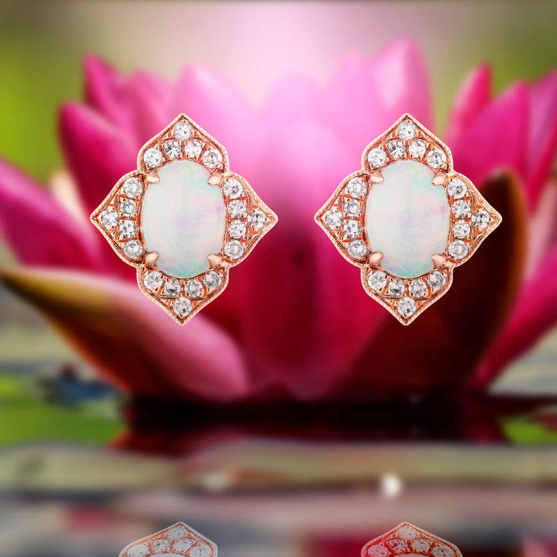 1.02ct Opal Design Earrings in 9ct Rose Gold