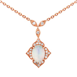 0.80ct Opal Design Pendant on Chain in 9ct Rose Gold