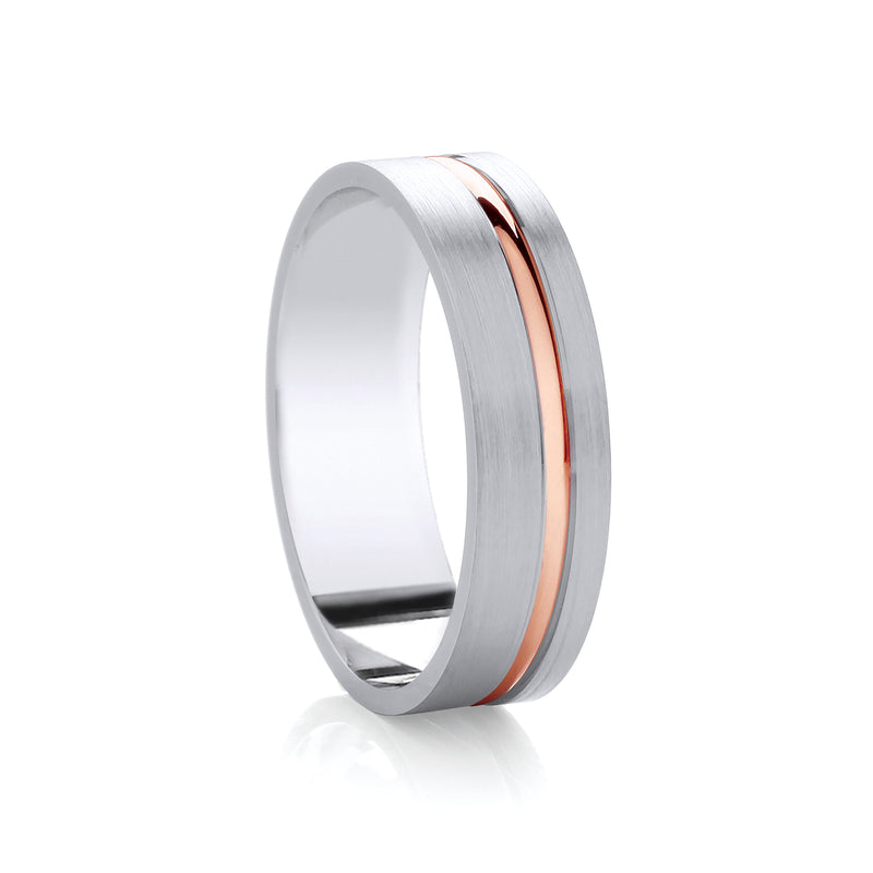 6mm Argentium Wedding Band with Inlay in 9ct Rose Gold
