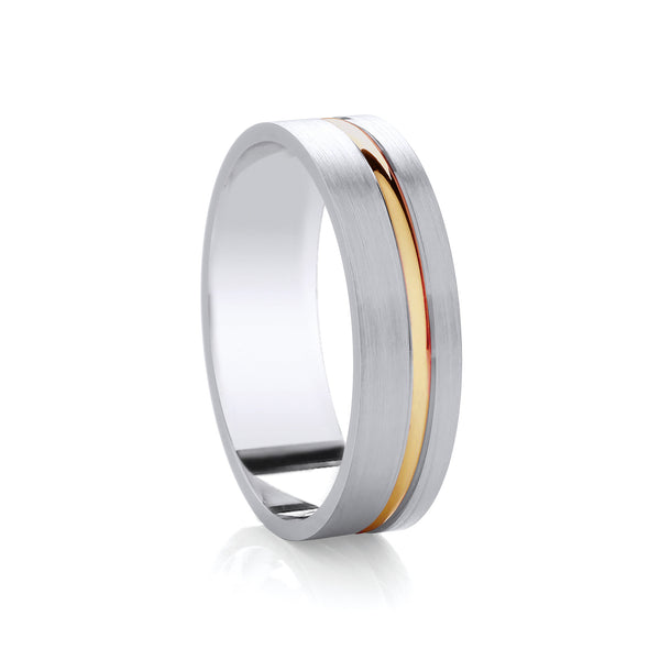 6mm Argentium Wedding Band with Inlay in 9ct Yellow Gold