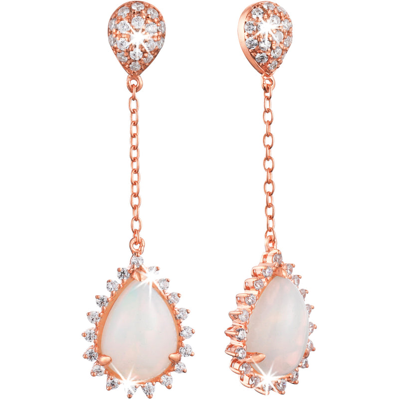 1.36ct Opal Star Halo Earrings in 9ct Rose Gold