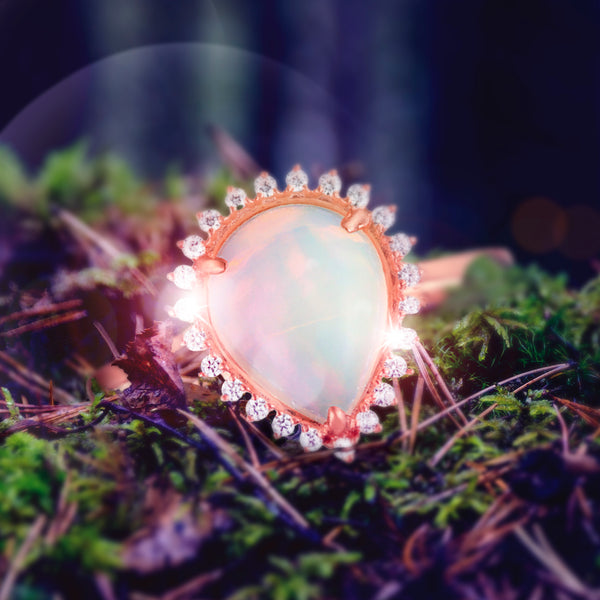 1.56ct Pear Opal Star Halo Ring in 9ct Rose Gold