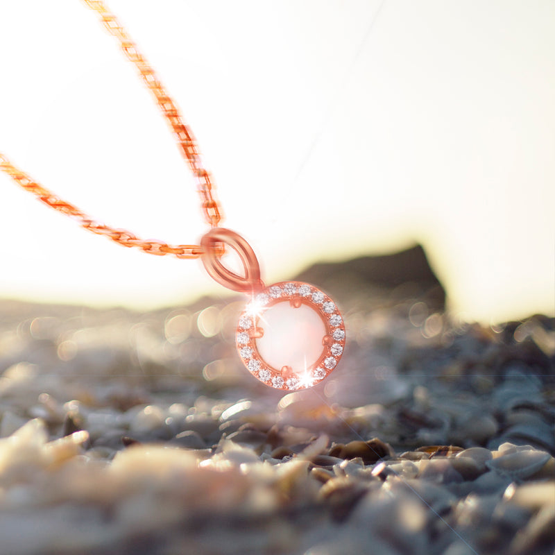 0.55ct Opal Halo Pendant on Chain in 9ct Rose Gold