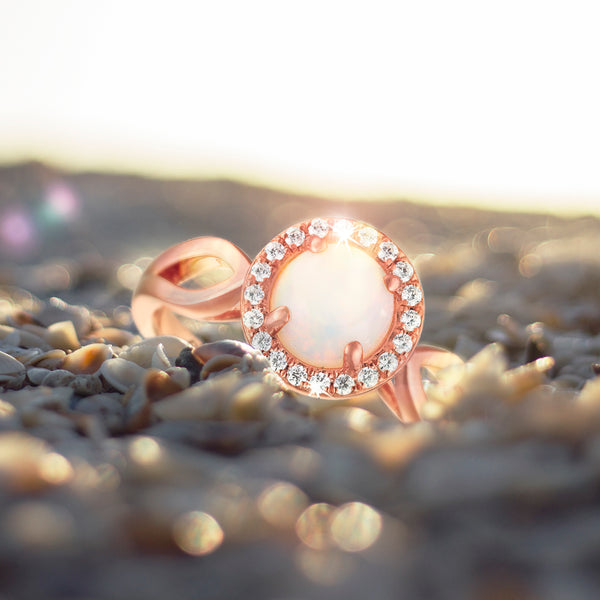 0.60ct Opal Halo Ring in 9ct Rose Gold