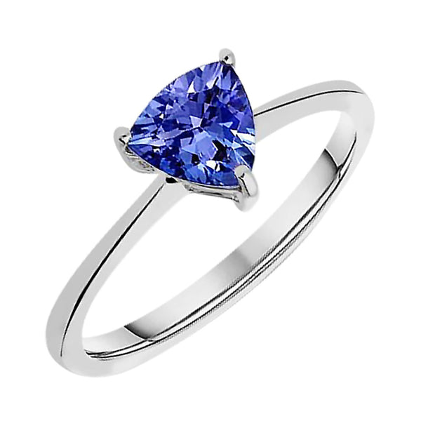 0.70ct Tanzanite Trillion Solitaire Ring in 14ct White Gold