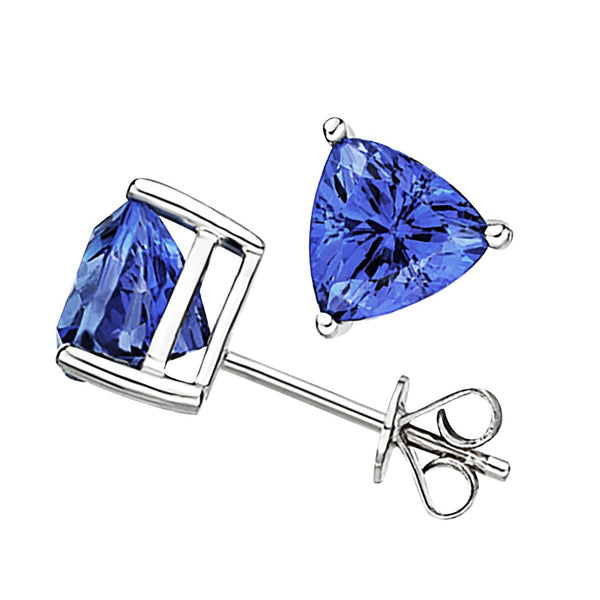 2.30ct Tanzanite Trillion Earrings in 14ct White Gold