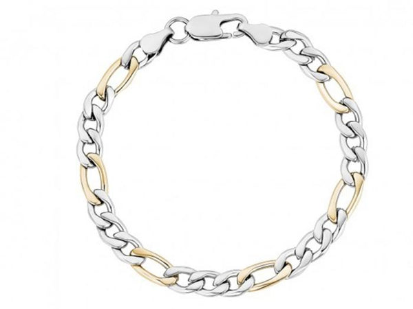 7mm Two Tone Figaro Link Bracelet