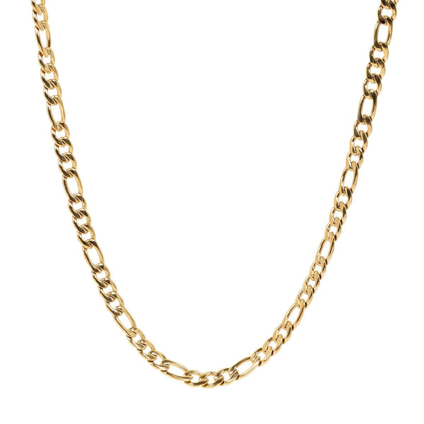 7mm Gold Figaro Link Necklace 60cm