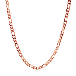 7mm Rose Gold Figaro Link Necklace 60cm