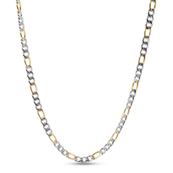 7mm Two Tone Figaro Link Necklace 60cm