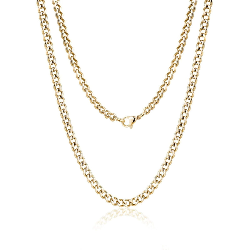 5mm Gold Steel Cuban Link Necklace 60cm
