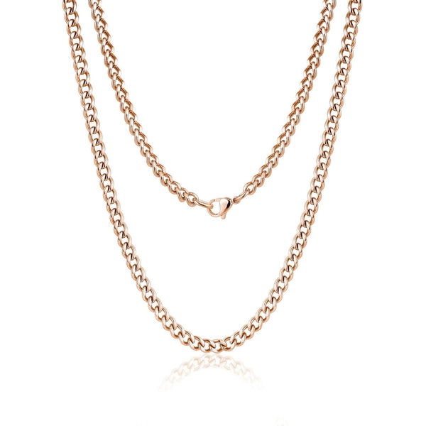 5mm Rose Gold Steel Cuban Link Necklace 60cm
