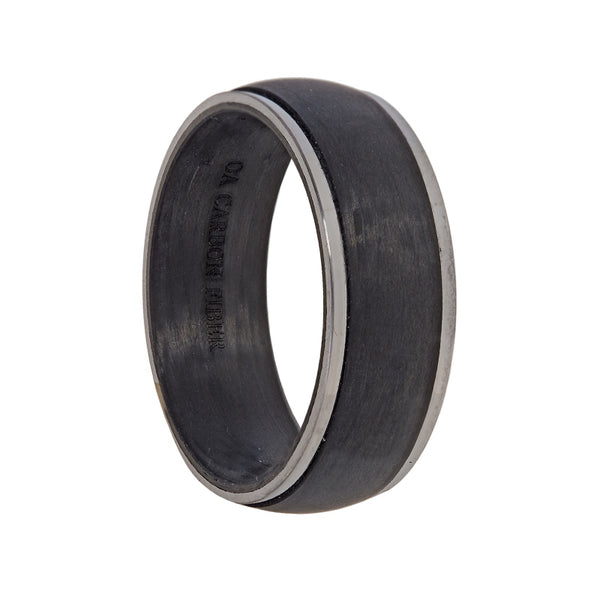 Black Carbon Fiber with Titanium Edges Wedding Band