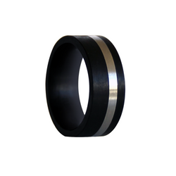 Black Carbon Fiber with Titanium Inlay Wedding Band