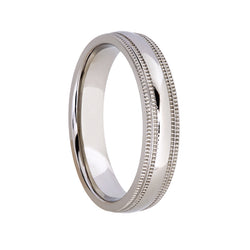 Titanium with Edged Pattern on Side Wedding Band