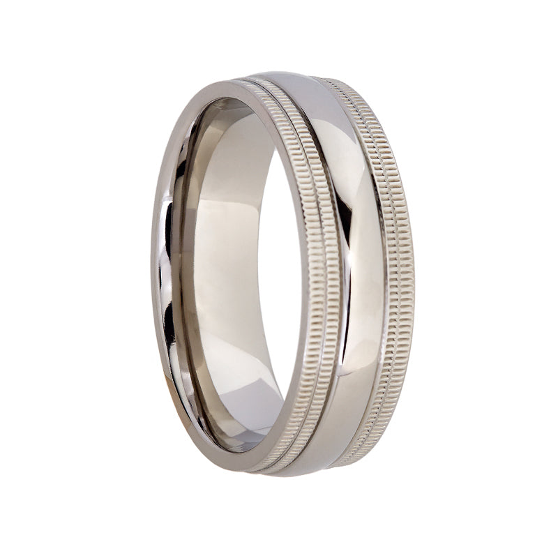 Titanium with Edged Wider Pattern on Side Wedding Band