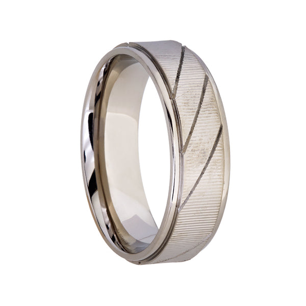 Titanium with Diagonal Grooves Wedding Band