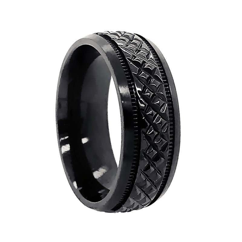 Black Zirconium Wide Crosshatch Pattern Centre Band Ring