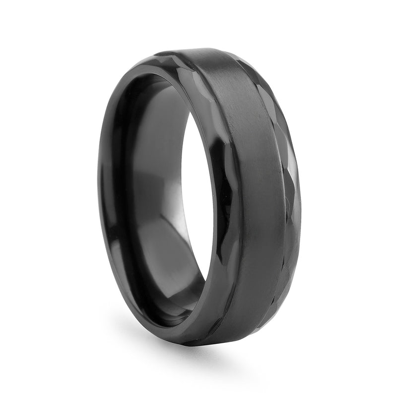 Black Zirconium Raised Center Wedding Band