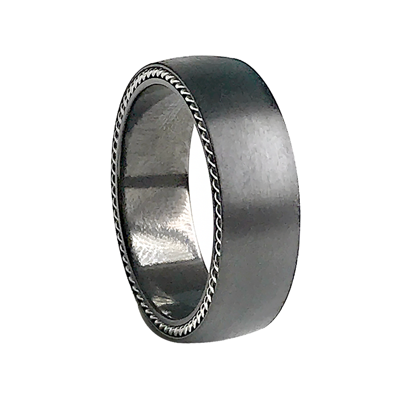 Black Zirconia Flat Polished Ring