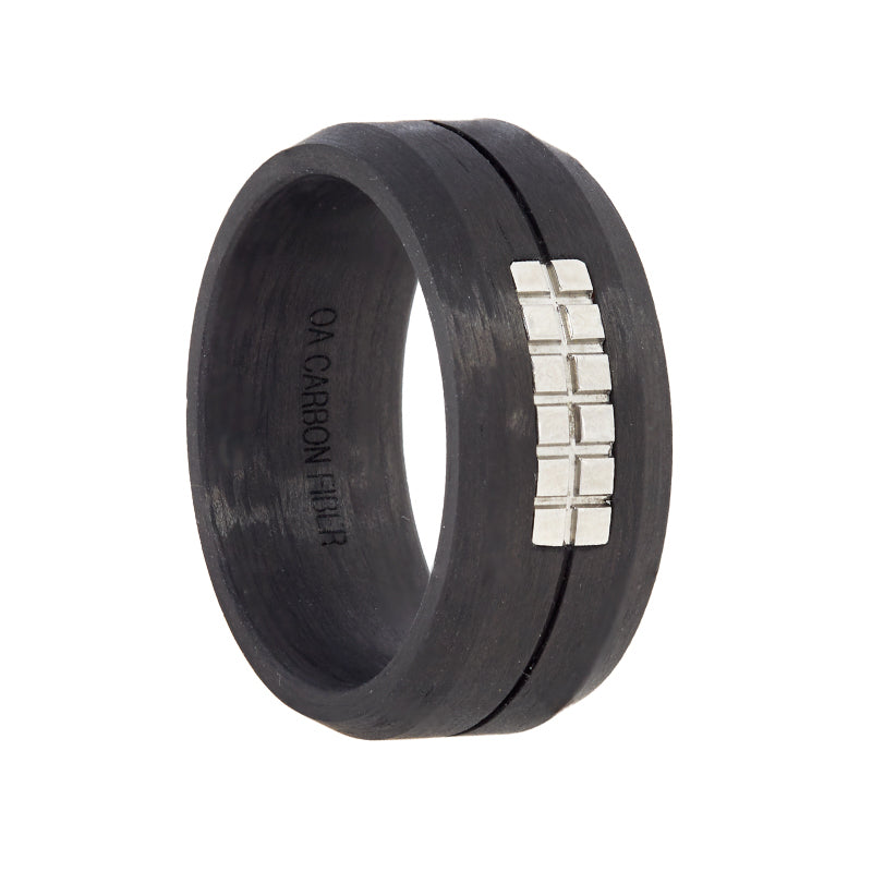 Black Carbon Fiber with Silver Design Wedding Band