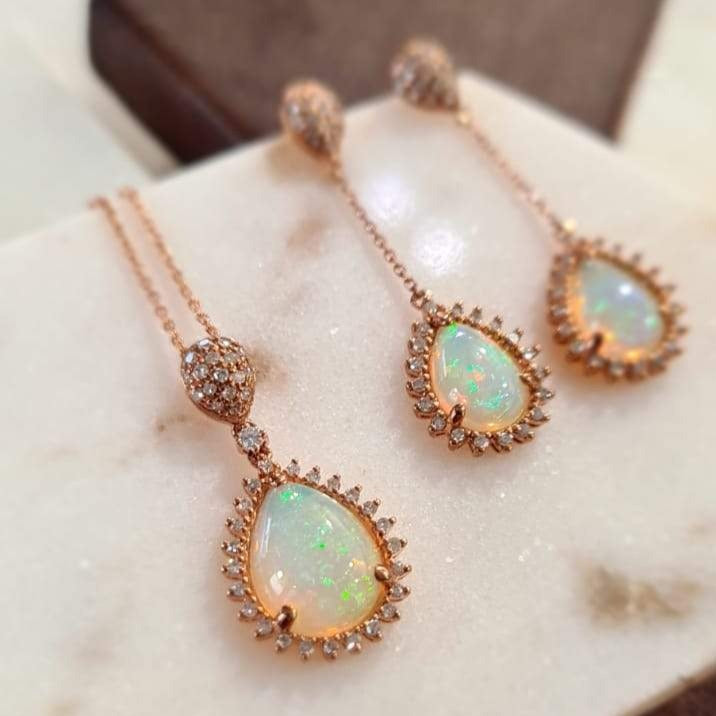 1.52ct Opal Star Halo Pendant on Chain in 9ct Rose Gold
