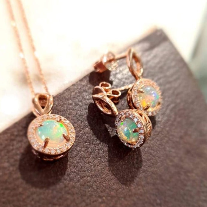 0.65ct Opal Halo Earrings in 9ct Rose Gold