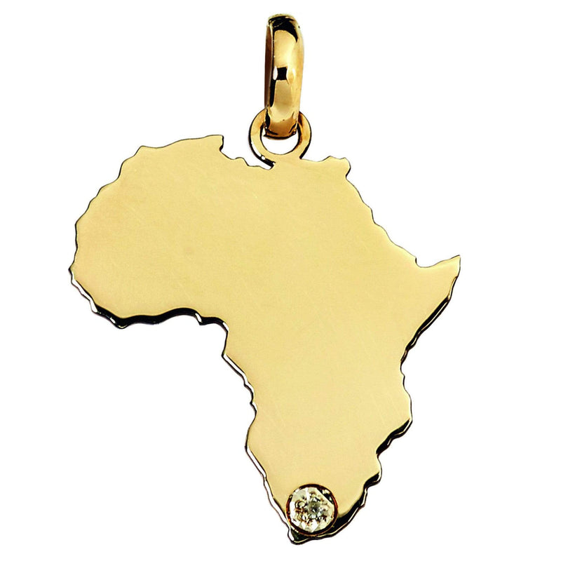 African Map Pendant in 9ct Yellow Gold Pendant
