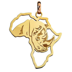 African Map with Rhino Pendant in 9ct Yellow Gold Pendant