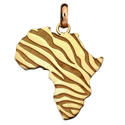 African Map with Zebra Print Pendant in 9ct Yellow Gold Pendant