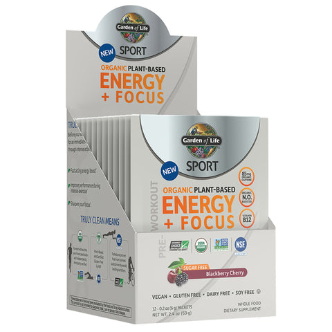 Garden of Life SPORT Organic Energy + Focus SF Blackberry Cherry