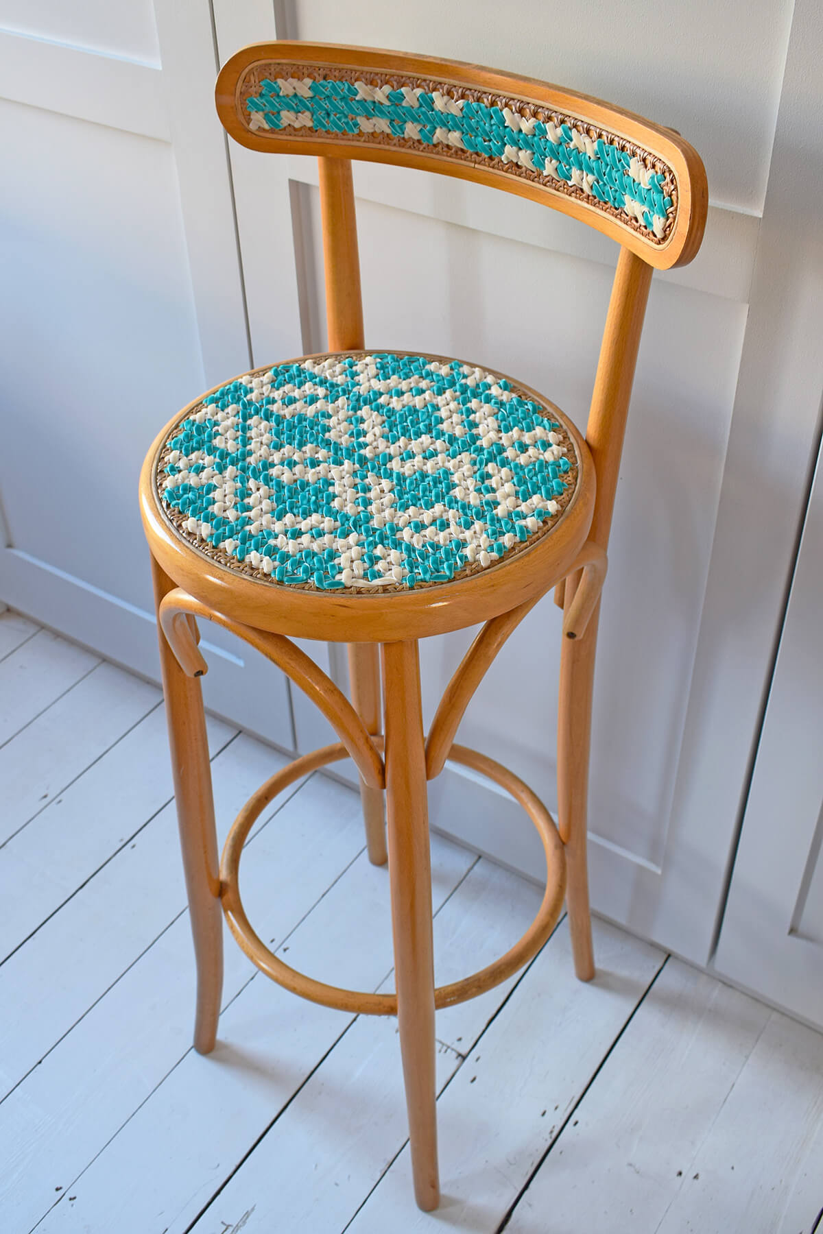 Finished stitched chair
