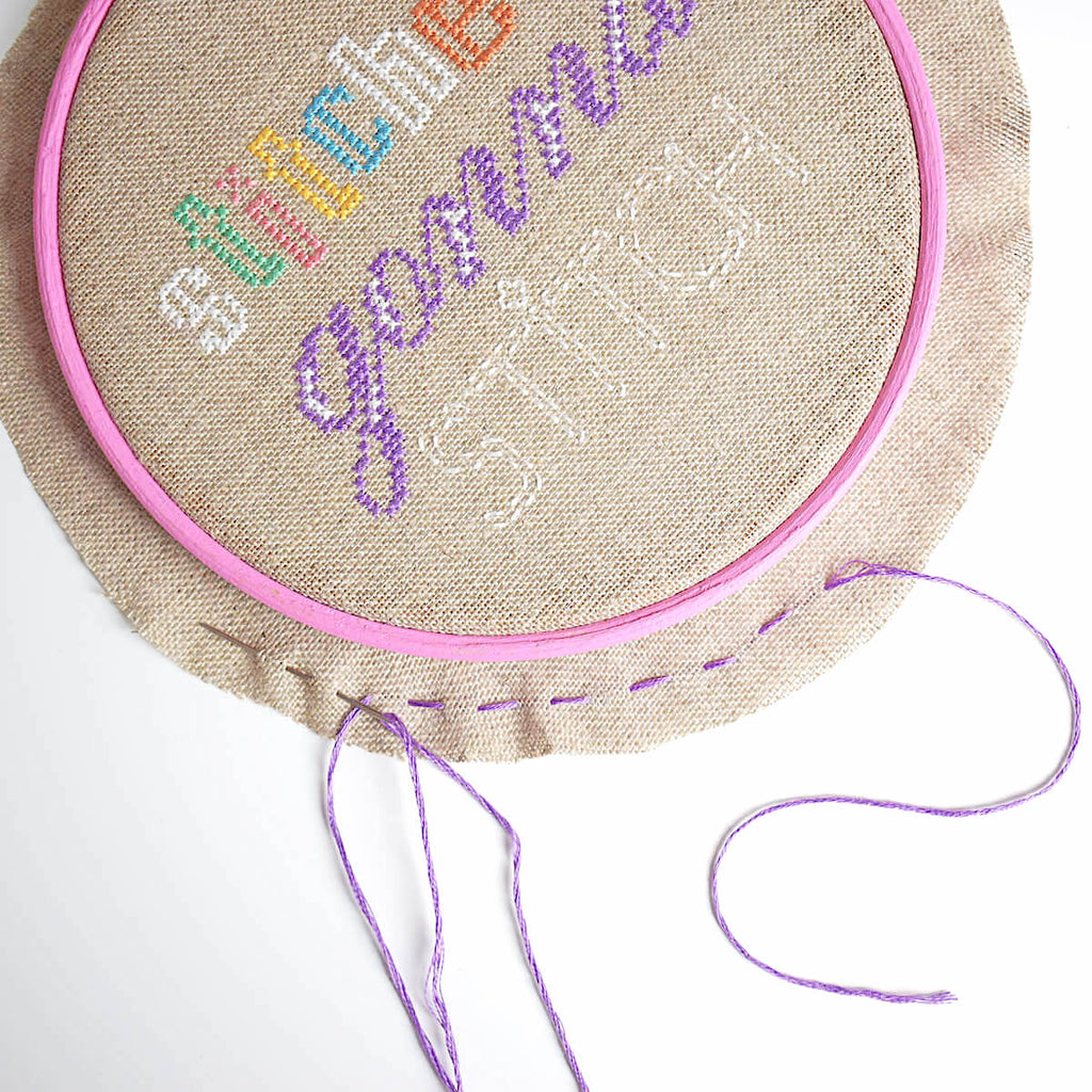 Running stitch around the edge of your hoop