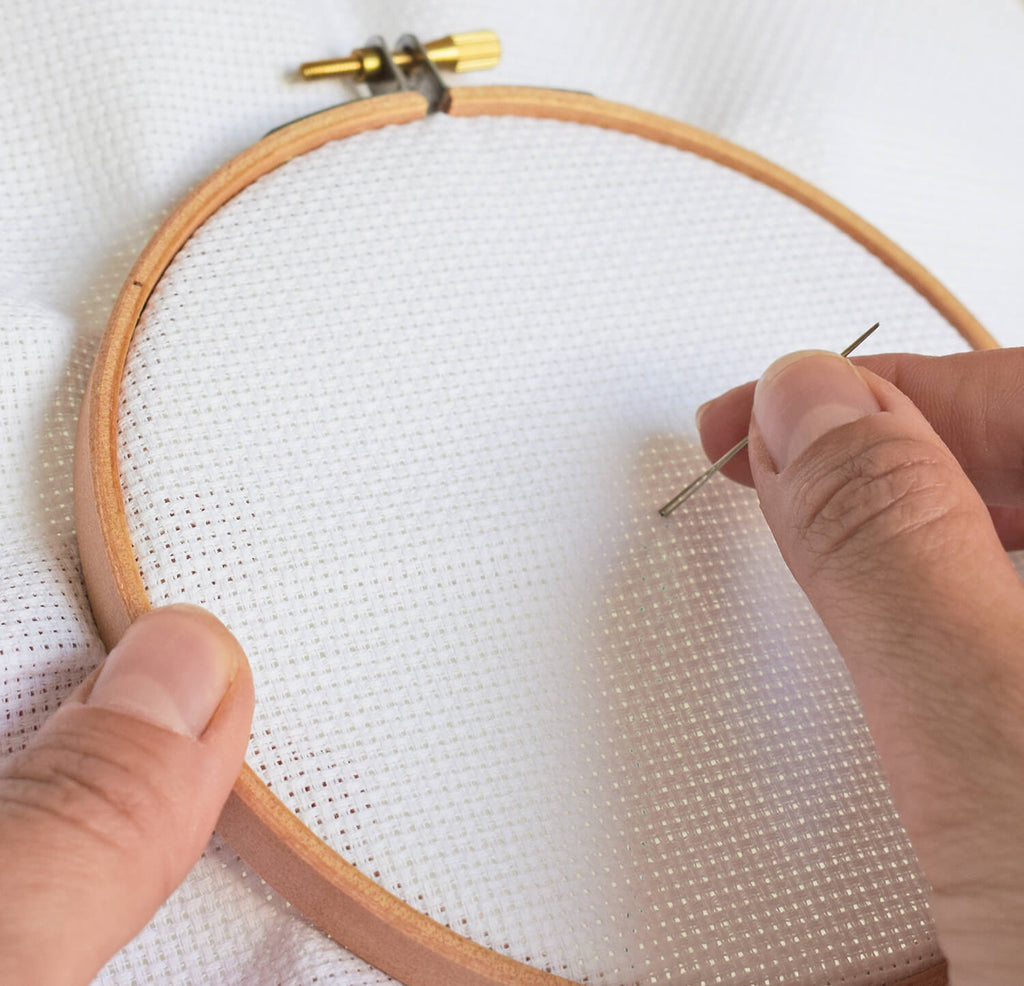 Begin stitching - how to cross stitch