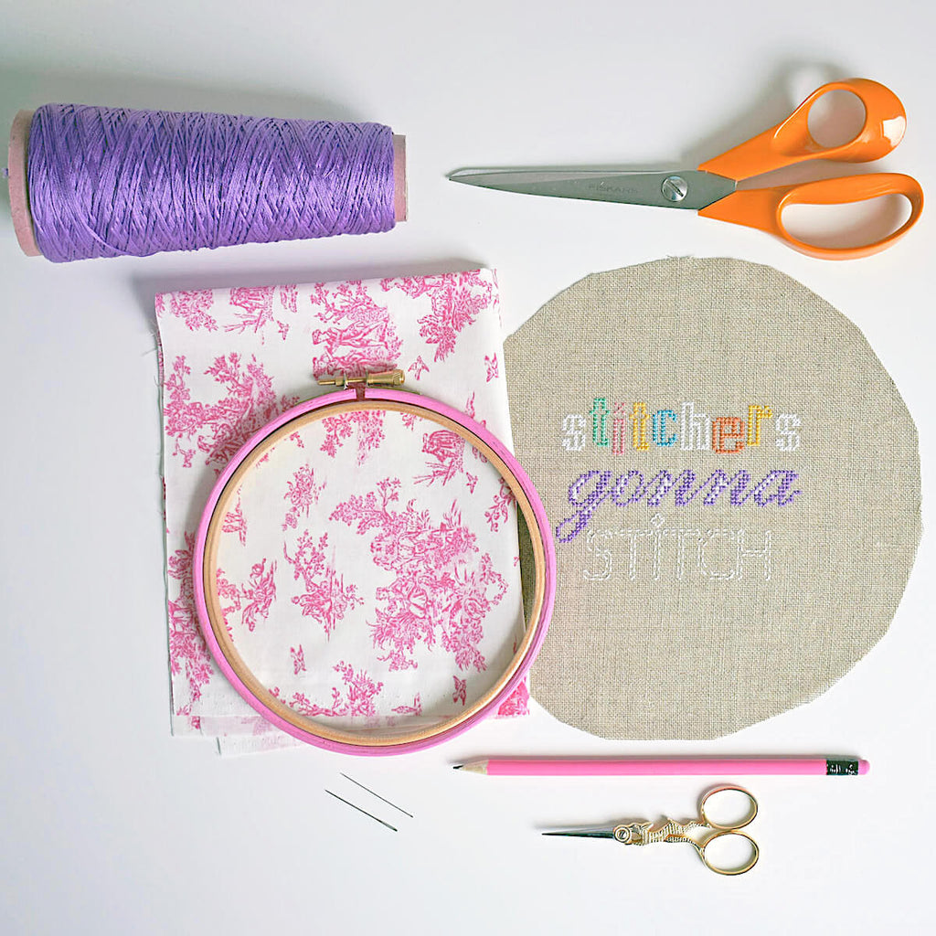Things you'll need to frame your stitching in an embroidery hoop