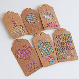 Birthday gift tags cross stitch kit